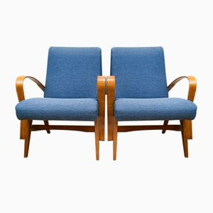 Blue Czech Armchairs, 1960s, Set of 2
