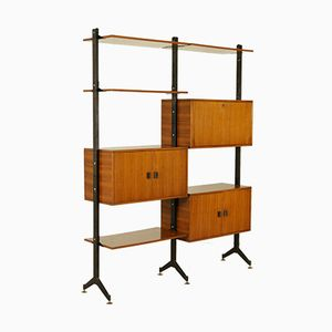 Italian Mid-Century Bookcase in Metal, Brass, and Teak Veneer