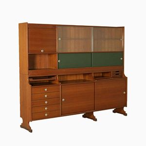 Italian Cabinet in Teak Veneer, Glass, and Leatherette, 1960s