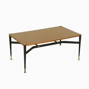 Coffee Table in Teak Veneer, Metal, and Brass, 1960s