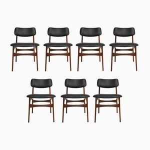 Chaises de Salon Scandinaves en Teck et Cuir, 1960s, Set de 7