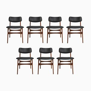 Scandinavian Teak & Leather Dining Chairs, 1960s, Set of 7