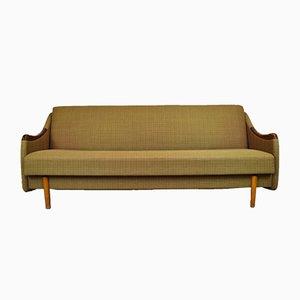Dormeuse o divano Mid-Century in mogano e lana verde di Poul M. Jessen, Danimarca