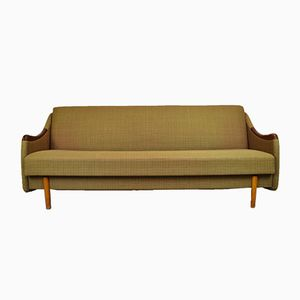 Mid-Century Danish Green Wool & Mahogany Sofa Day Bed by Poul M. Jessen