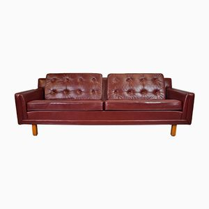 Mid-Century Burgundy Leather Sofa, 1970s