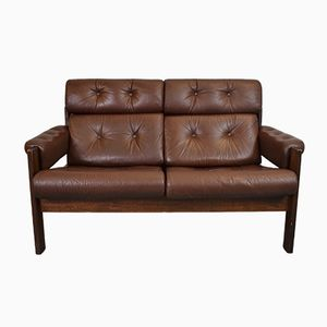 Mid-Century Danish Brown Leather 2- Seater Sofa, 1970s