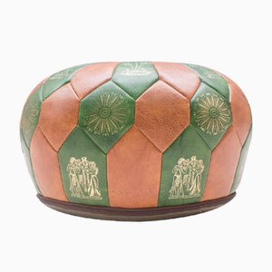 Two-Tone Vintage Seat Cushion with Egyptian Motif, 1970s