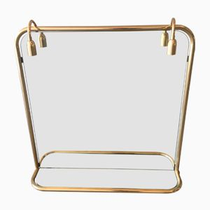 French Gilt Metal Wall Mirror with Shelf and Two Lights, 1970s