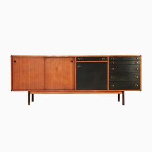 Italian Sideboard with Wood & Brass Knobs, 1960s