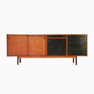 Italienisches Sideboard mit Griffen aus Holz & Messing, 1960er