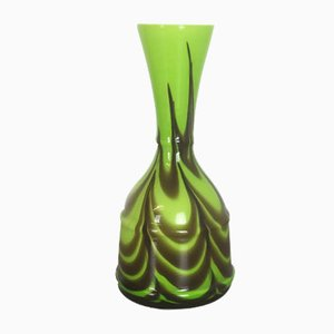 Green Italian Glass Vase from Opaline Florence, 1970s