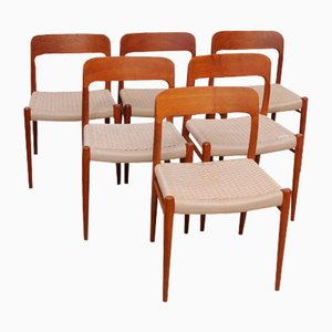 Danish Teak Model 75 Chairs by Niels Møller, 1950s, Set of 6