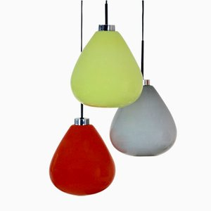 Italian Three-Colored Murano Glass Pendant Lamp from Venini, 1970s