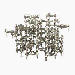 Vintage Kerzenhalter-Skulptur mit 52 Elementen von Caesar Stoffi für BMF Nagel, 1970er
