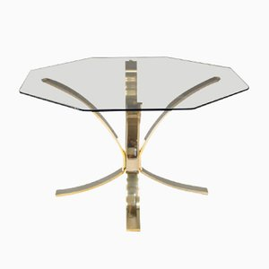 Vintage Brass & Smoked Glass Coffee Table, 1960s