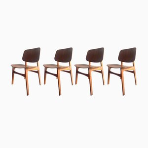 Vintage Model 155 Søborg Chairs by Børge Mogensen for Fredericia, Set of 4