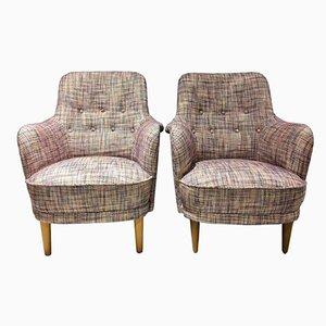 Vintage Scandinavian Modern Samsas Easy Chairs by Carl Malmsten, Set of 2