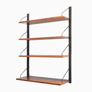 Mid-Century Rosewood Veneer & Metal Shelving Unit by Poul Cadovius for Royal System