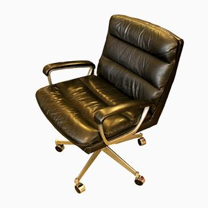 Leather & Chrome Office Chair from Ring Mekanikk, 1958