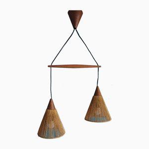 Lampe à Suspension Vintage en Teck, Scandinavie
