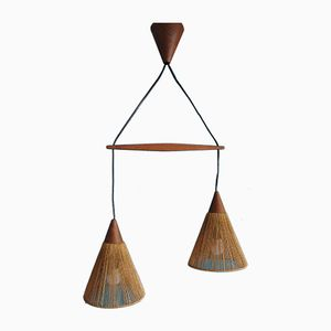 Vintage Scandinavian Teak Suspension Light