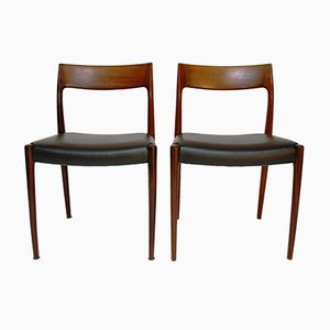 Vintage Model 77 Dining Chairs by Niels O. Moller for J.L. Mollers, Set of 4