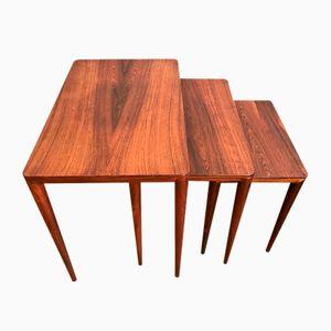 Tavolini a incastro in palissandro di Erik Riisager Hansen per Haslev Møbelsnedkeri, Danimarca, anni '60