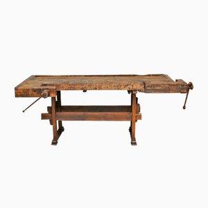 Vintage Hungarian Oak Carpenter's Workbench, 1935