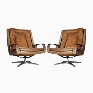 Swivel Leather Chairs by André Vandenbeuck, 1950s, Set of 2