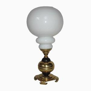 Lampada da tavolo in ottone e vetro, anni '60