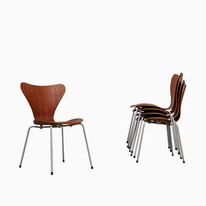 Teak Veneer 3107 Side Chairs by Arne Jacobsen for Fritz Hansen, 1963, Set of 4