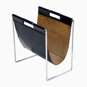 Mid-Century Leather & Chrome Magazine Rack from Brabantia, 1970s
