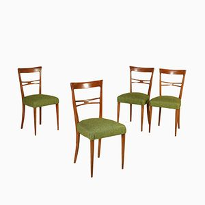 Vintage Italian Beech Wood Chairs, 1950s, Set of 4