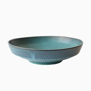 Scandinavian Large Circular Bowl in Blue Green by Gunnar Nylund for Nymölle, 1960s