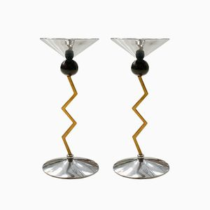 Italian Steel and Brass Candlesticks, 1970s, Set of 2