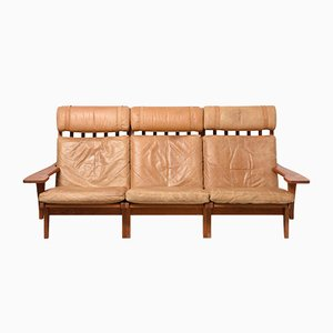 Mid-Century GE-375/3 Three Seater Sofa by Hans J. Wegner for Getama