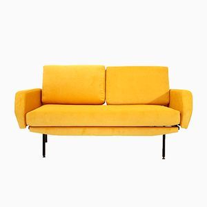 Italian Yellow Velvet Sofa Bed, 1950s