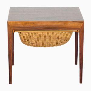 Tavolo da cucito vintage in palissandro di Severin Hansen per Haslev Mobelsnedkeri