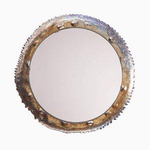 Vintage Brutalist Titanium Wall Mirror, 1970s