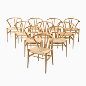 Mid-Century Model CH24 Wishbone Chairs by Hans J. Wegner for Carl Hansen & Søn, Set of 10