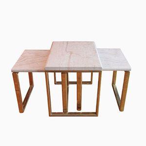 Tavoli ad incastro in ottone e travertino, set di 3