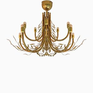 Italian Brass Bamboo Style Chandelier, 1980s