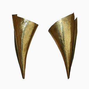 French Brass Sconces, 1970s, Set of 2