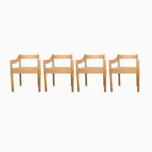 Carimate Esszimmerstühle aus Pinie von Vico Magistretti für Cassina, 4er Set
