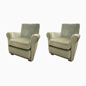 Green Velour Chairs, 1970s, Set of 2