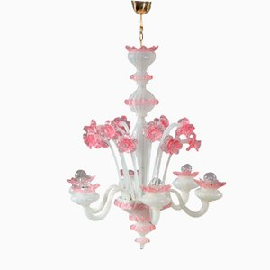 Pink and White Blown Glass Chandelier from Murano, 1940s
