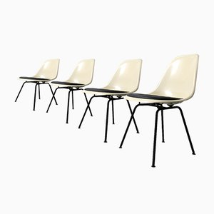 DSX Parchment-Colored Fiberglass Side Chairs by Charles & Ray Eames for Vitra, 1980s, Set of 4