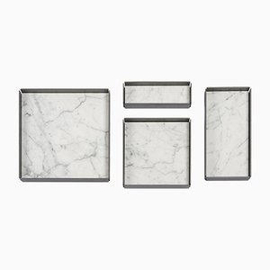 Fontane Bianche Modular Trays in Bianco Carrara Marble by Elisa Ossino for Salvatori