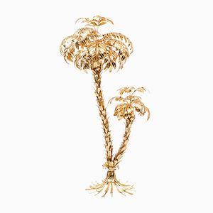 Lampada da terra vintage a forma di palma in ottone di Hans Kögl, anni '70