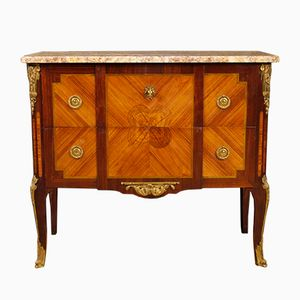 French Inlaid Dresser with Marble Top, 1920s